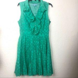 Antonio Melani Fit Flare Dress 12 Green Ruffle Zip